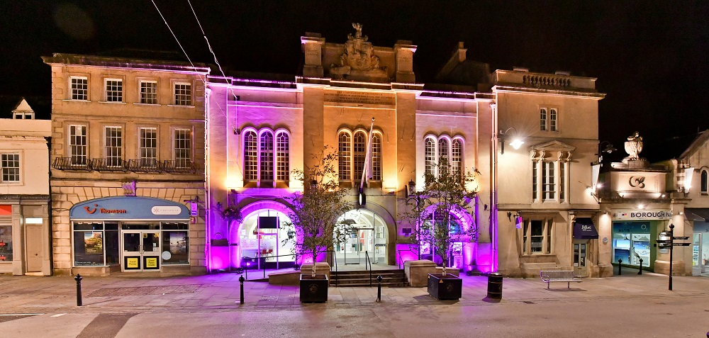 Purple Flag Week, Chippenham, Purple lights shining onto Chippenham Town Hall.