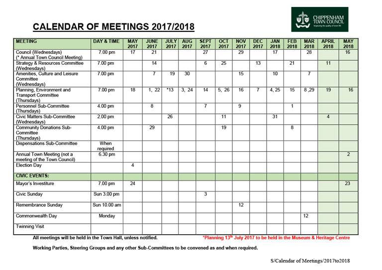 4 revised calendar 2017 to 2018