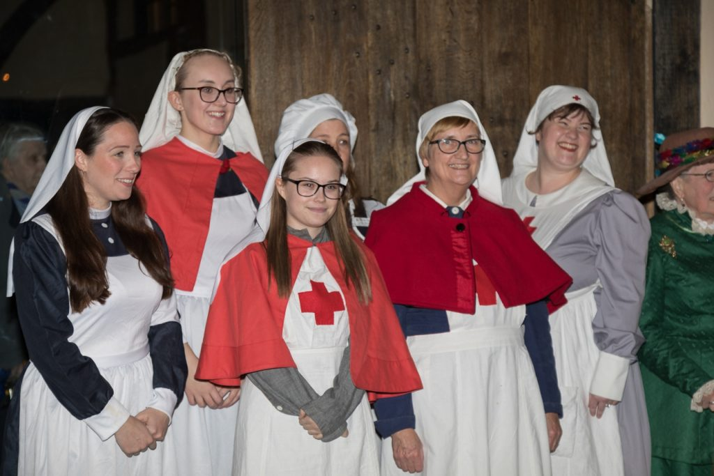Millie and other volunteers dressed as First World War nurses