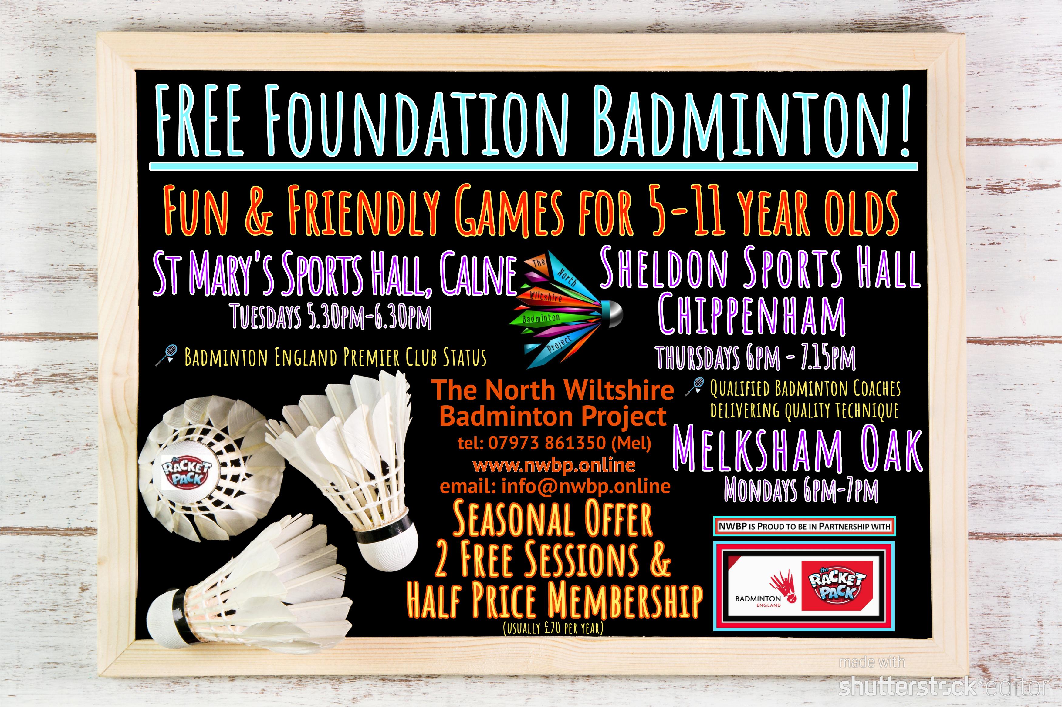Free Foundation Badminton • Chippenham Town Council