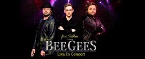 Jive Talkin The Bee Gees, 3 band members, black background.