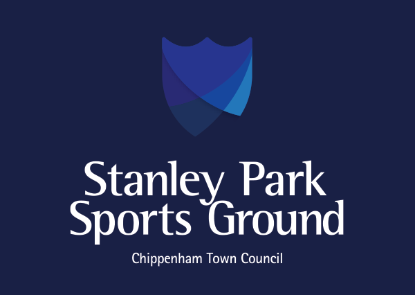 Navy blue background, white writing, Stanley Park Sports Ground Chippenham Town Council