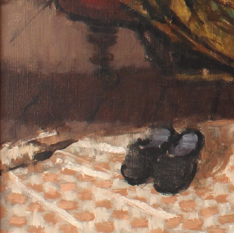 close up of 'Studio interior with Nude' by William Brooker, showing slippers on an orange and white rug
