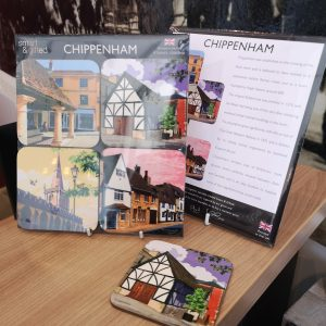 Packaged set on four Chippenham coasters on online shop