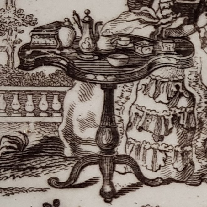 close up image of decoration on a white porcelain saucer, showing a tea table