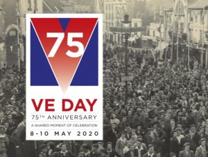 75th anniversary VE day celebration, Chippenham 1945, red white and blue 75 on left, crowds of people celebrating in background