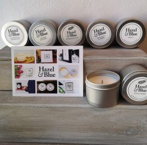 Hazel and Blue Candle Tins, various fragrances, on online shop
