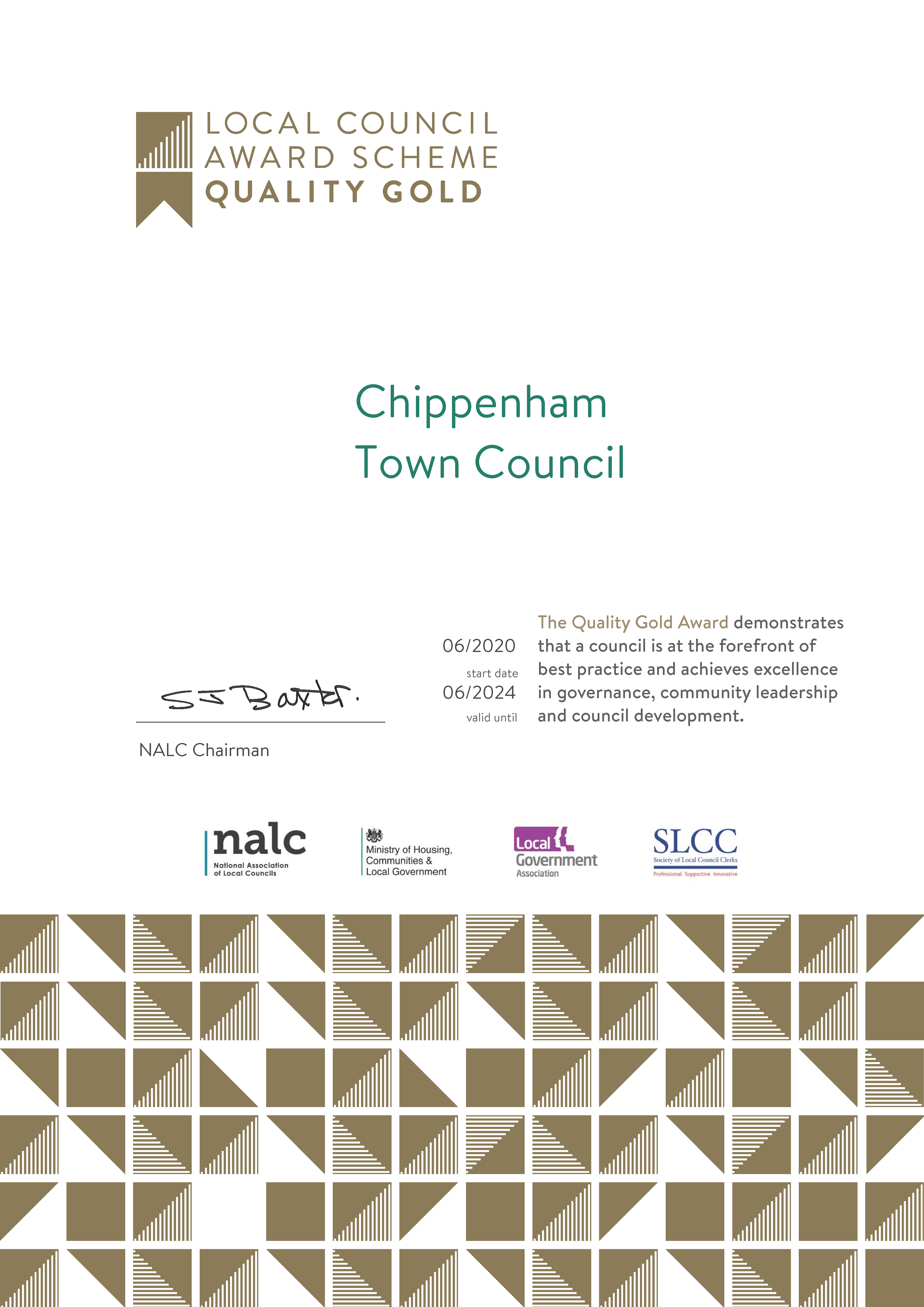 Quality Gold Award for Chippenham Town Council