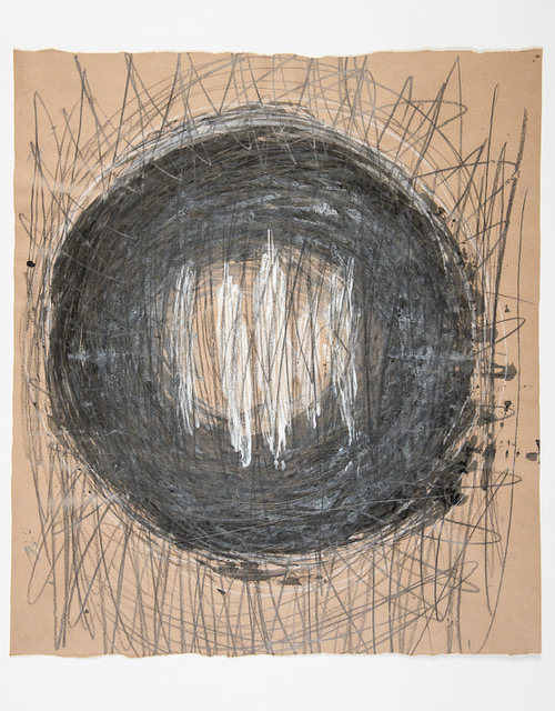 Abstract drawing, large black circle on a brown background, with many criss-cross lines