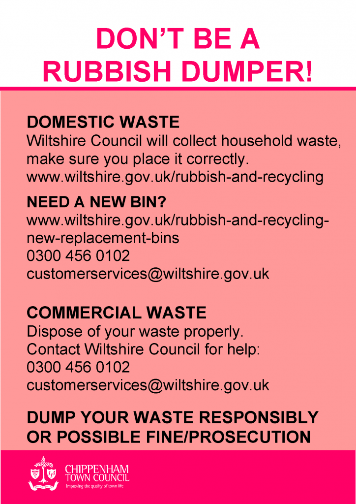 Pink background with black text explaining how to contact Wiltshire Council for information on how to dispose of household and commercial waste responsibly