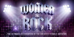 Women in rock slogan with stage lights