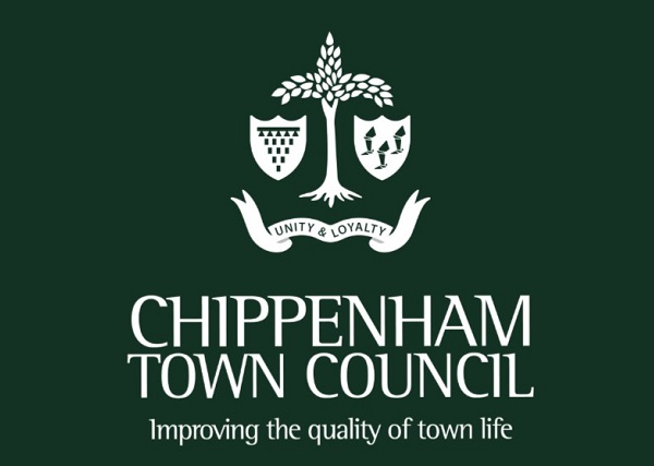 Chippenham Town Council white logo on a green background