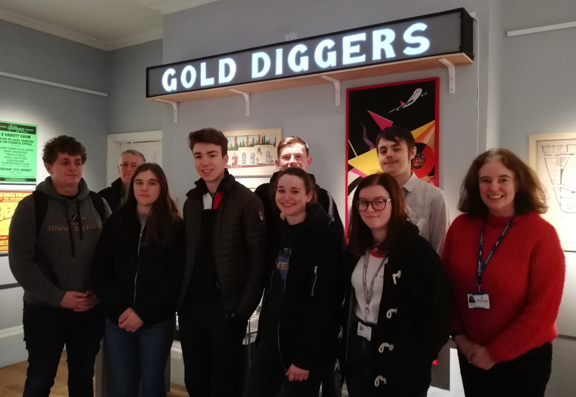 group of students inside goldiggers exhibition