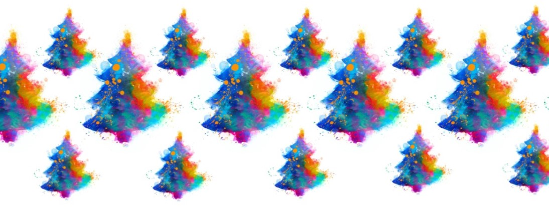 colourful handdrawn christmas trees