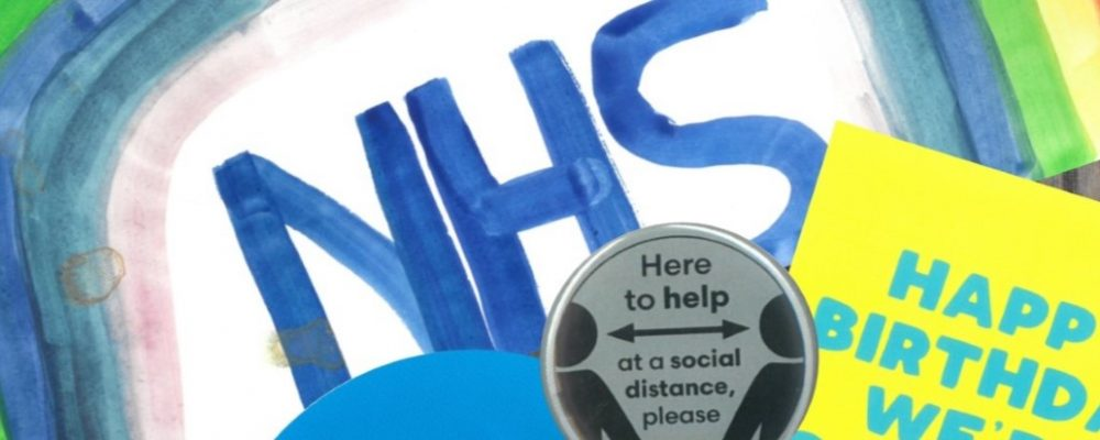 collection of images, a painted rainbow, nhs, a badge with here to help at a social distance please
