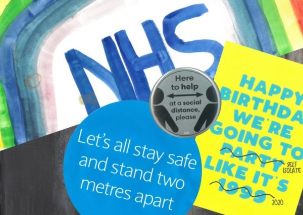 group of images, painted rainbow with nhs, badges referencing social distancing and a birthday card