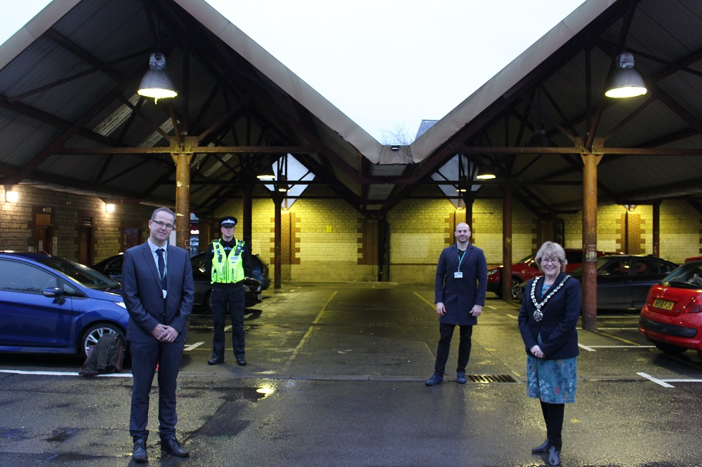 Left to right: Inspector James Brain from Wiltshire Police, Matt Kirby Director of Community Services at Chippenham Town Council, Ollie Phipps Chippenham Community Engagement Officer and Mayor of Chippenham Councillor Teresa Hutton stood in Bath Road Car Park.