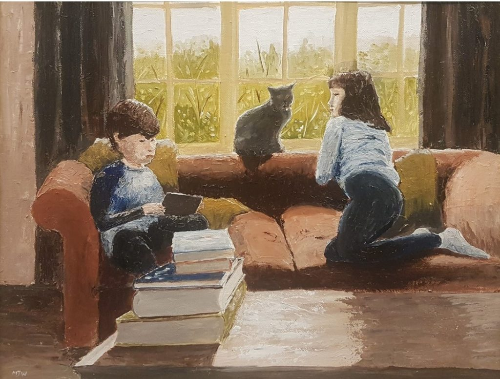 painting of two children on a sofa, one is reading a book