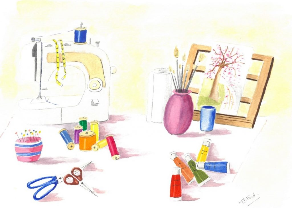 drawing of sewing machine and other craft materials