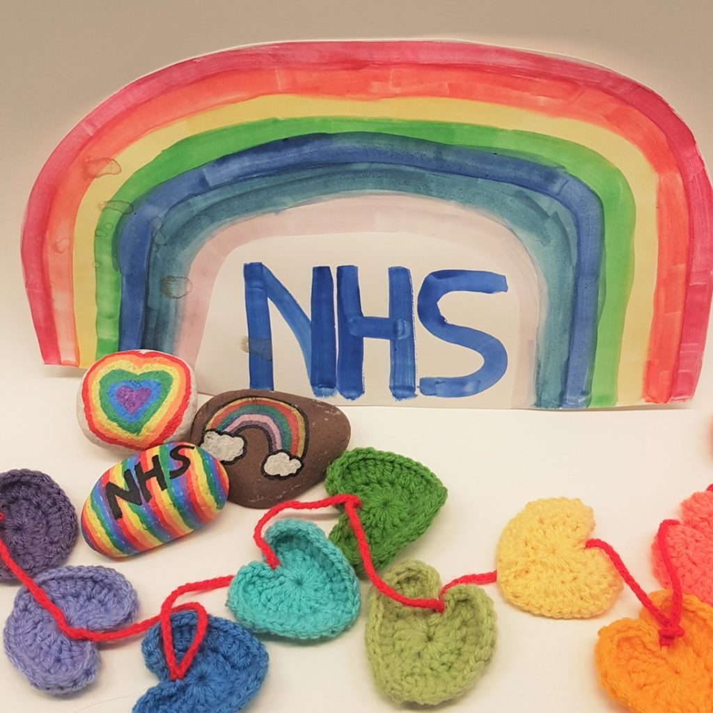 rainbow nhs painting, multi coloured crochet hearts and painted rocks