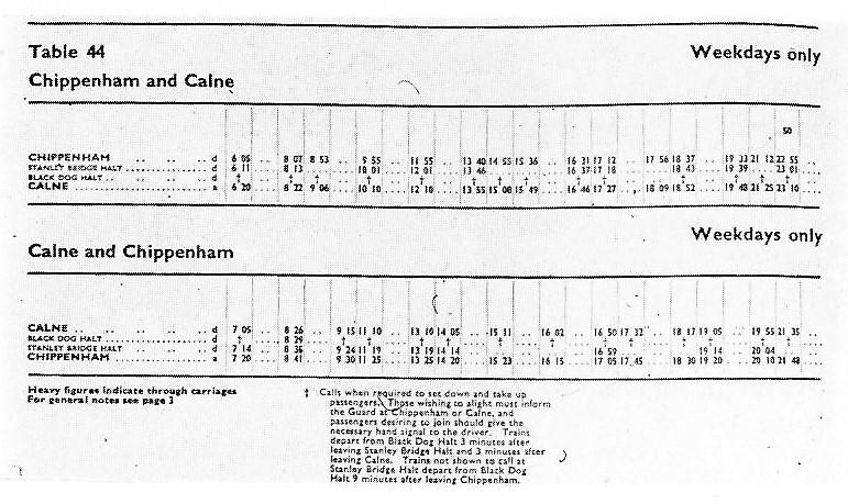 Printed timetable chippenham and calne with lines for Chippenham, Stanley Bridge Halt, Black dog halt and Calne. Weekdays only