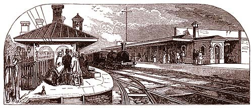 Illustration of Chippenham Station showing a train at the platform with people ready to board