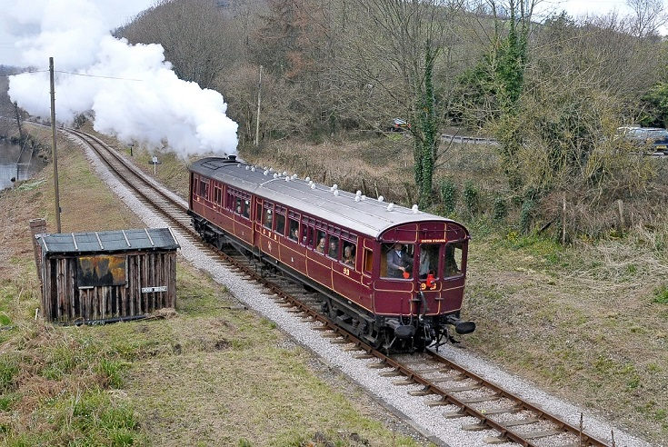 colour photograph of a railmotor in use