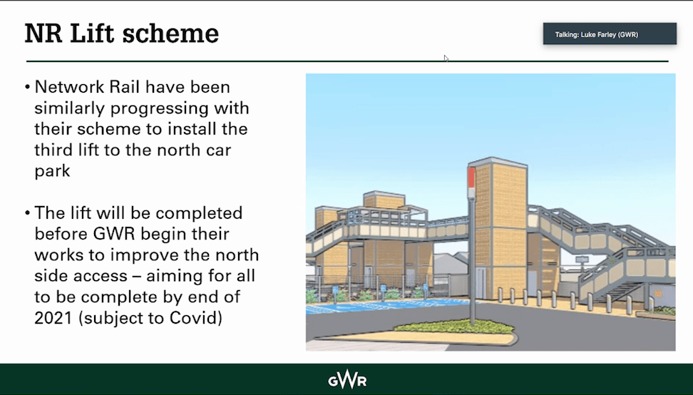 Recent GWR graphic showing illustration of plans for lift to north car park from the footbridge