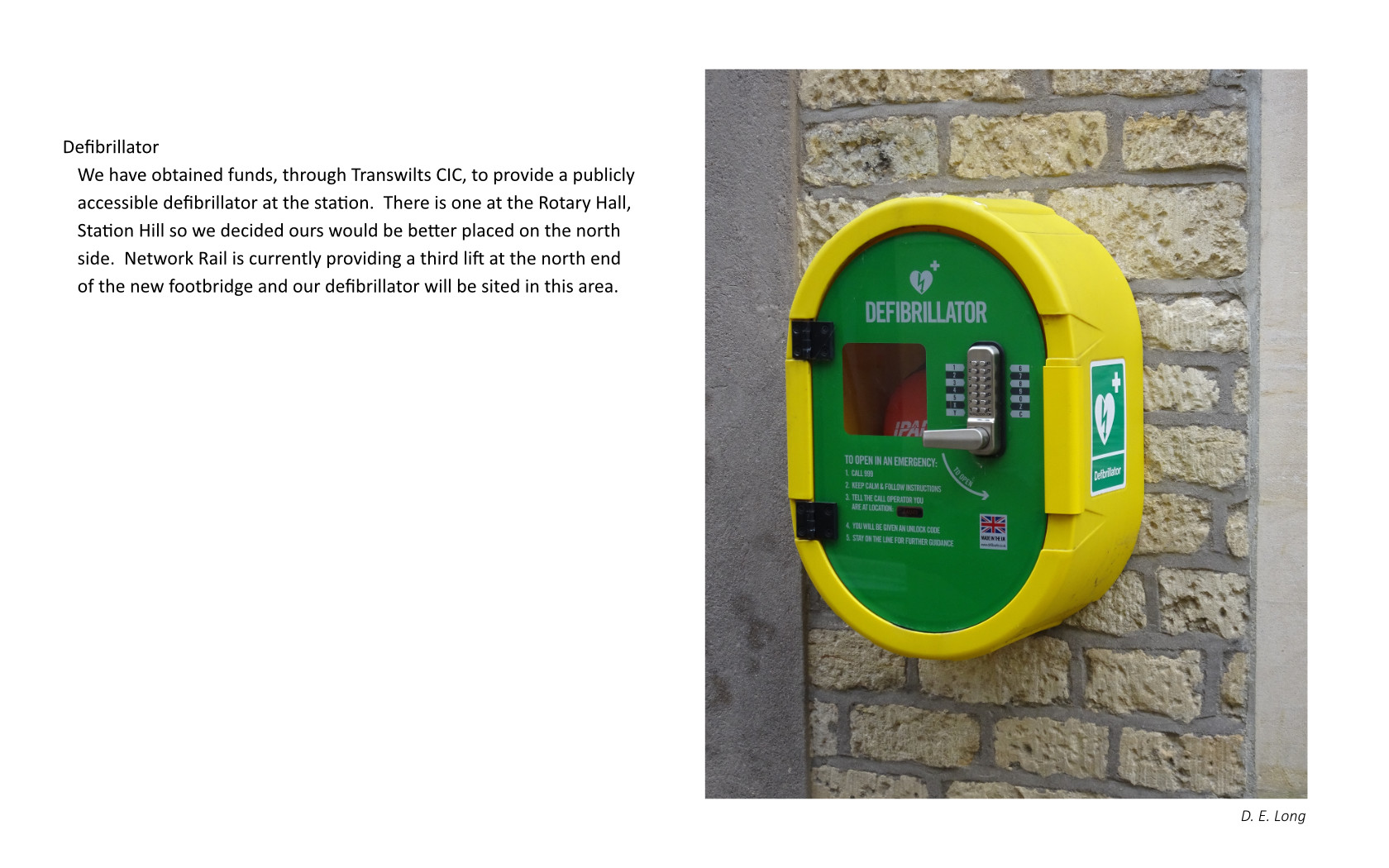 Includes image of a defibrillator
