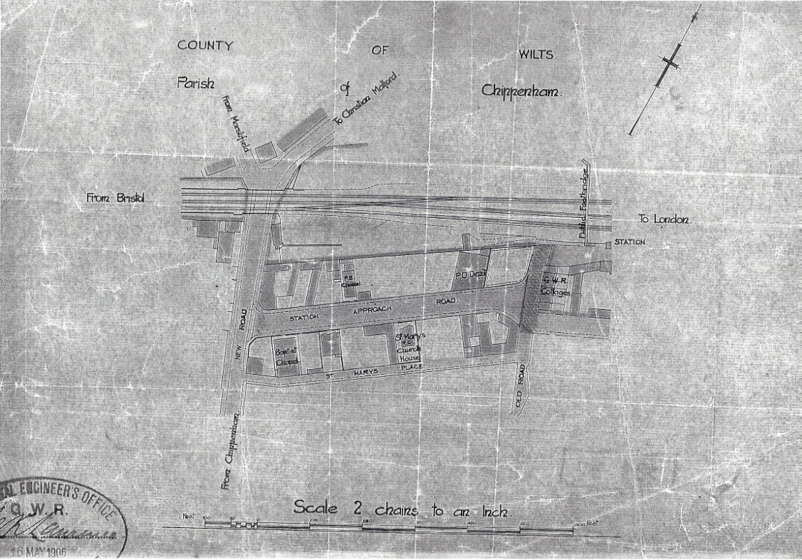 A plan of Chippenham Station area with details including GWR cottages, footbridge and PO Depot.
