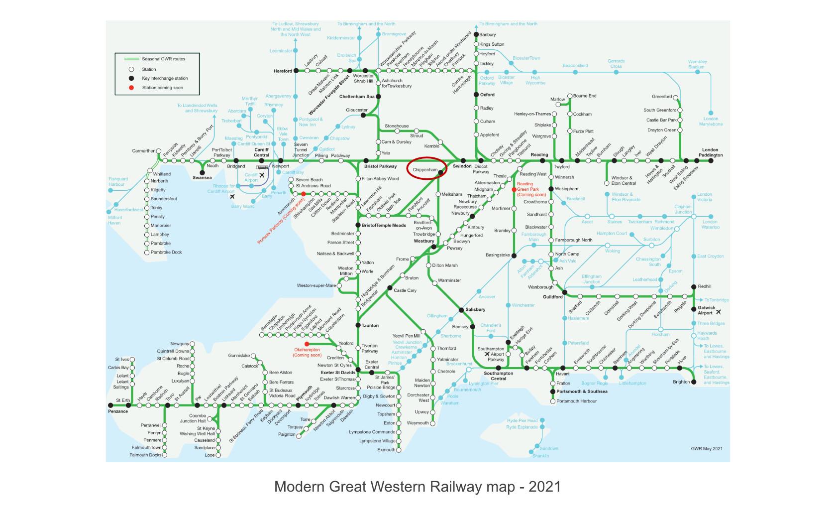 modern great western railway map 2021