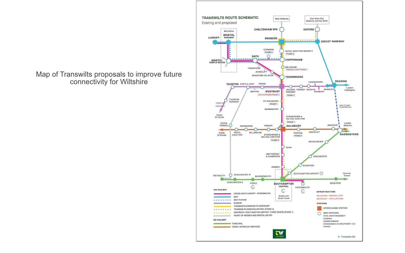 map of transwilts proposals to improve future connectivity for Wiltshire