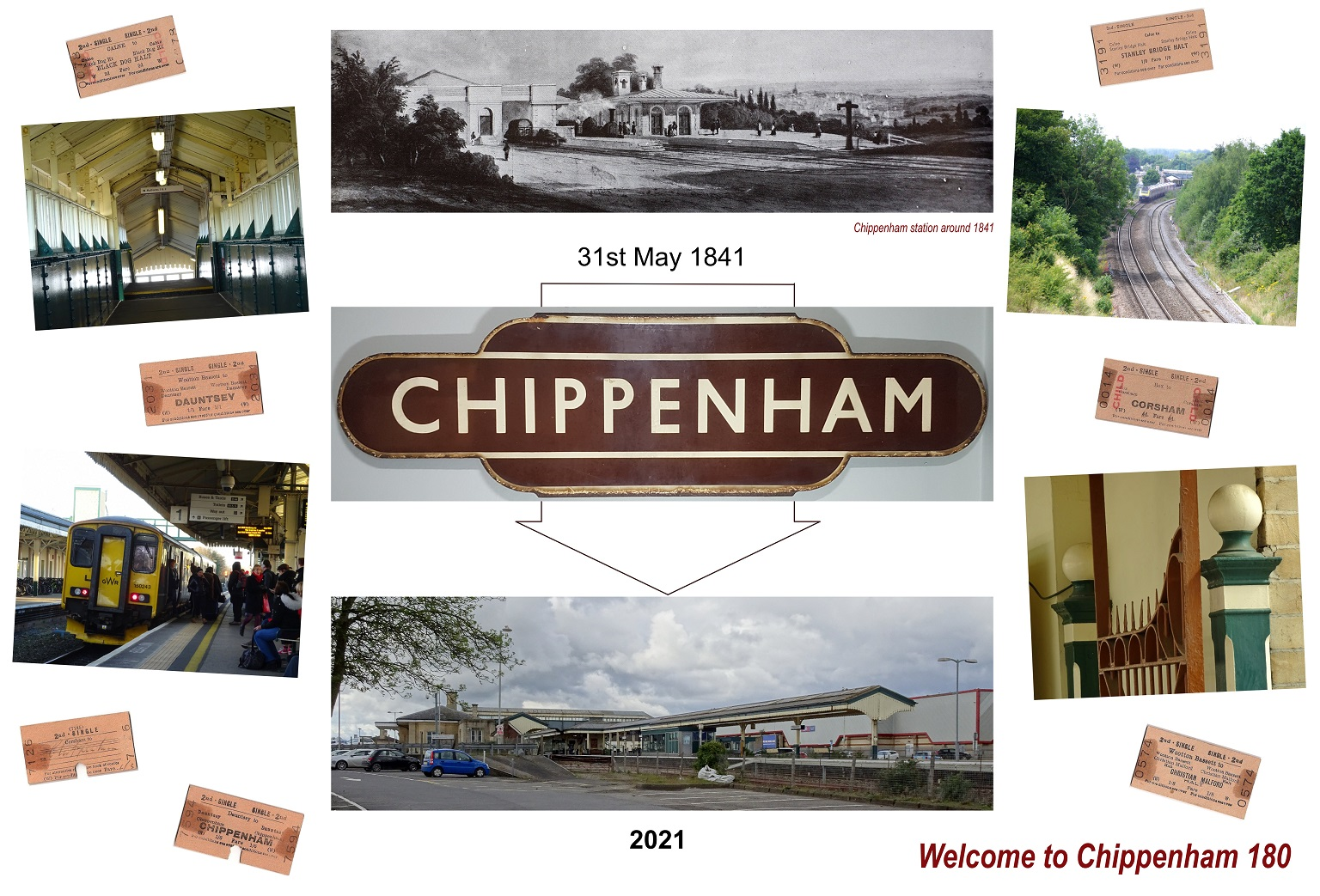 A montage of photos including an illustration of the station in 1841 and a photo of the station today