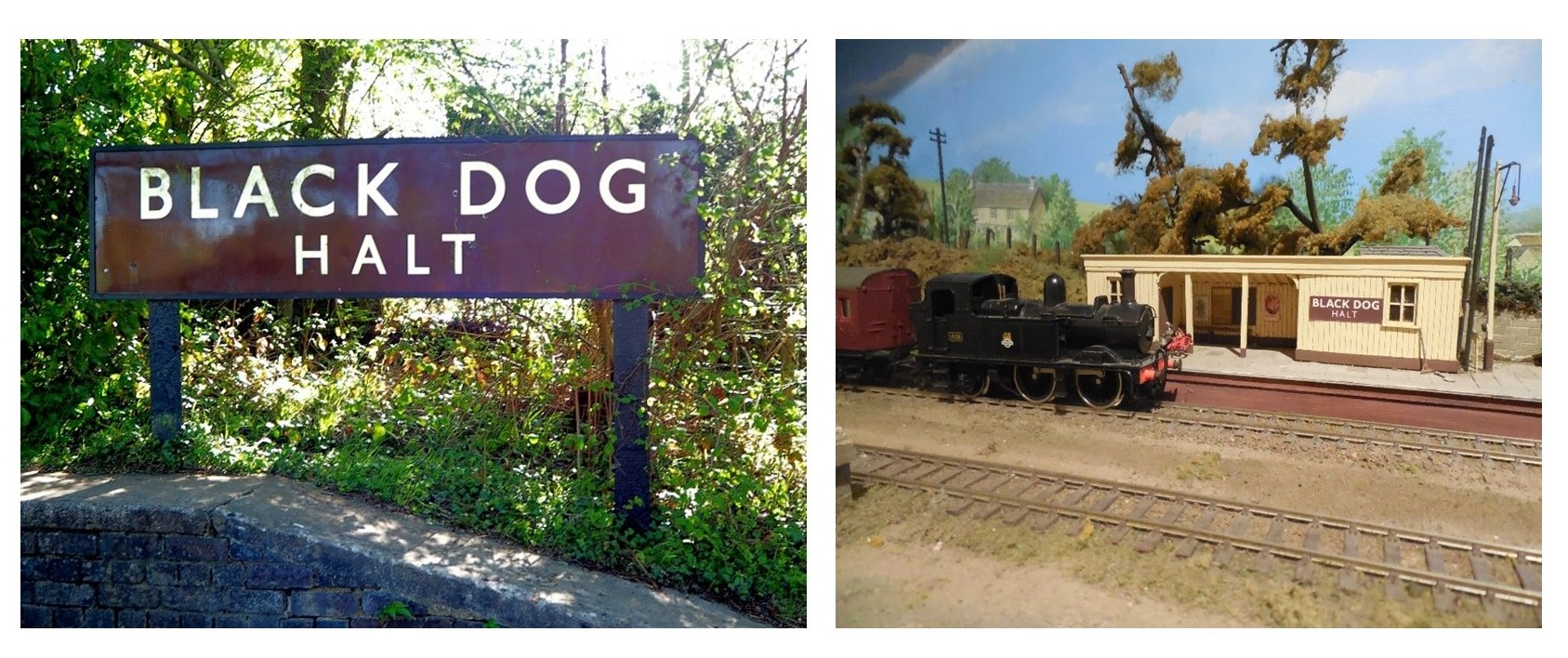 Two colour photographs showing the Black Dog Halt sign on the cycle tack and the model railway at chippenham museum