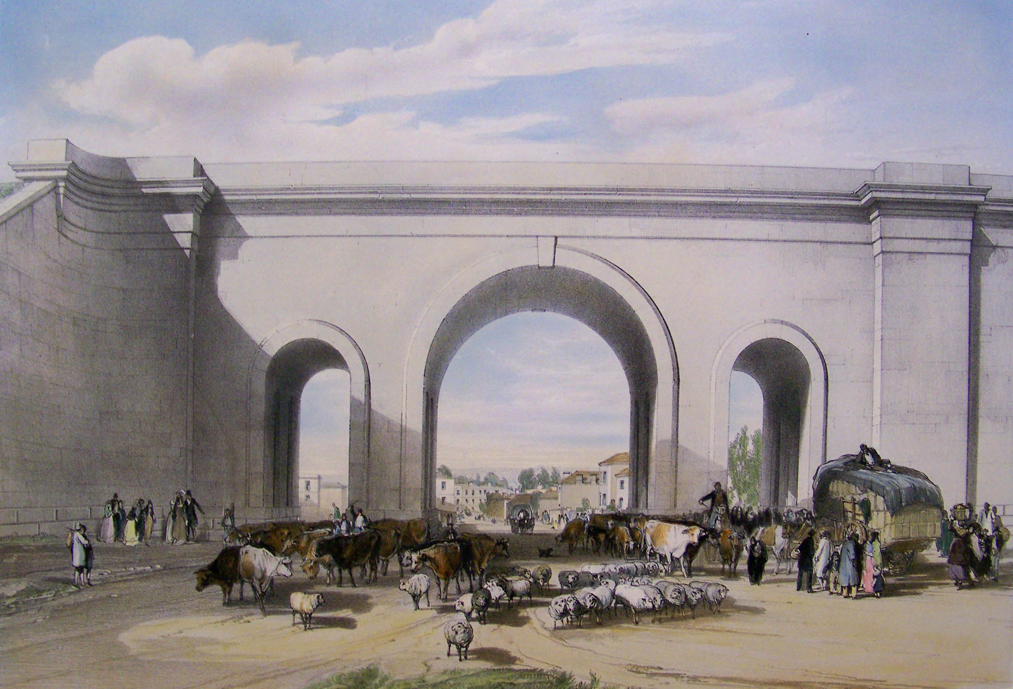 A colour etching of the arches, drawn from New Road looking through the arches towards the High Street. There is alot of activity below the arches, with livestock, people and wagons passing through below.
