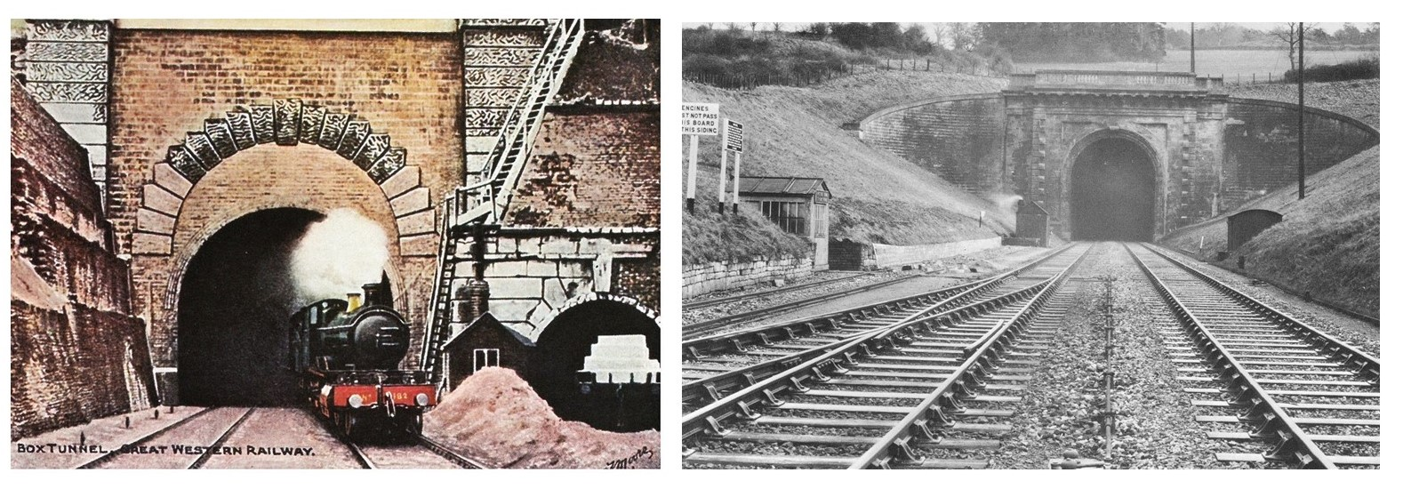 Two photographs showing box tunnel. On the left is a colour tinted postcard showing a steam train emerging from box tunnel with a smaller tunnel entrance visible to the right of it. The image on the right is a black and white photograph taken from the tracks looking into box tunnel showing the decorative stonework of the tunnel entrance