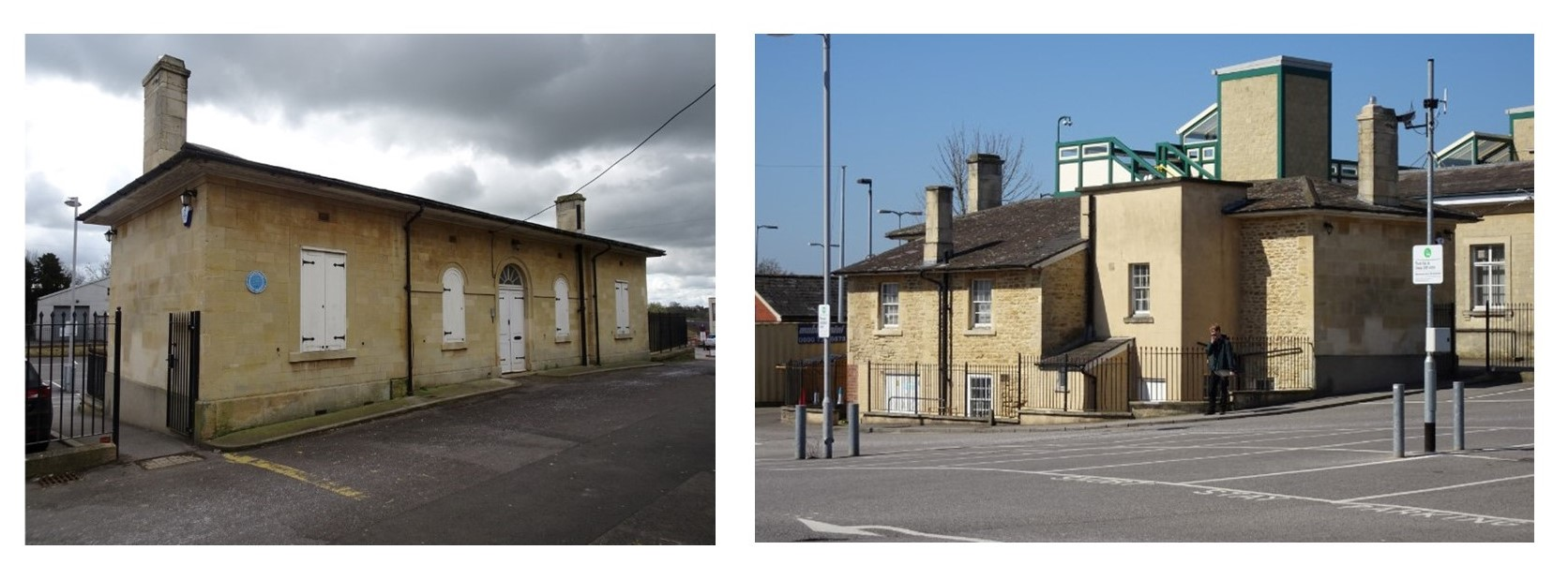 two views of brunel's office, showing the front and back
