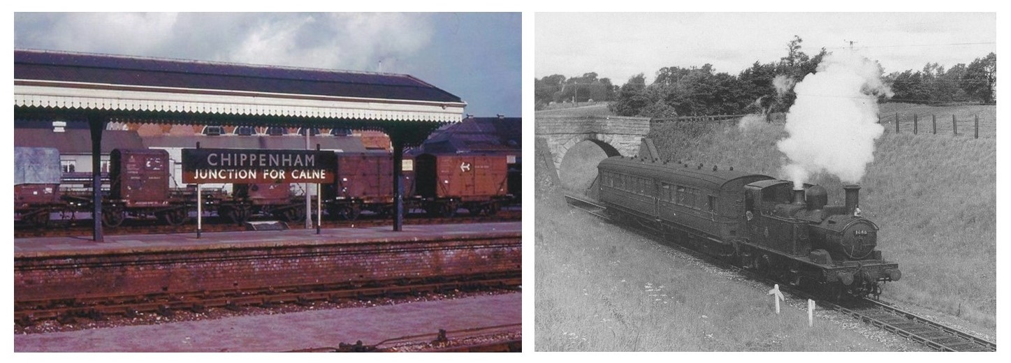 Two photographs, one colour of Chippenham Station showing sign Chippenham Junction for Calne and one black and white photograph showing steam train just passed under a bridge