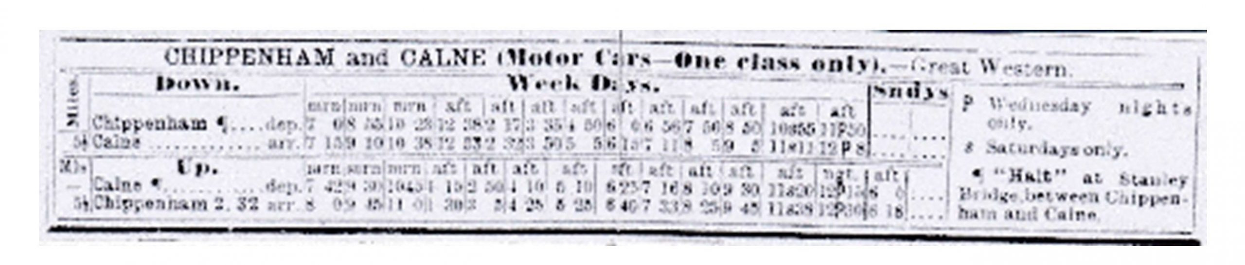 Printed timetable for Chippenham and Calne showing times for Up and Down on Weekdays and Sunday
