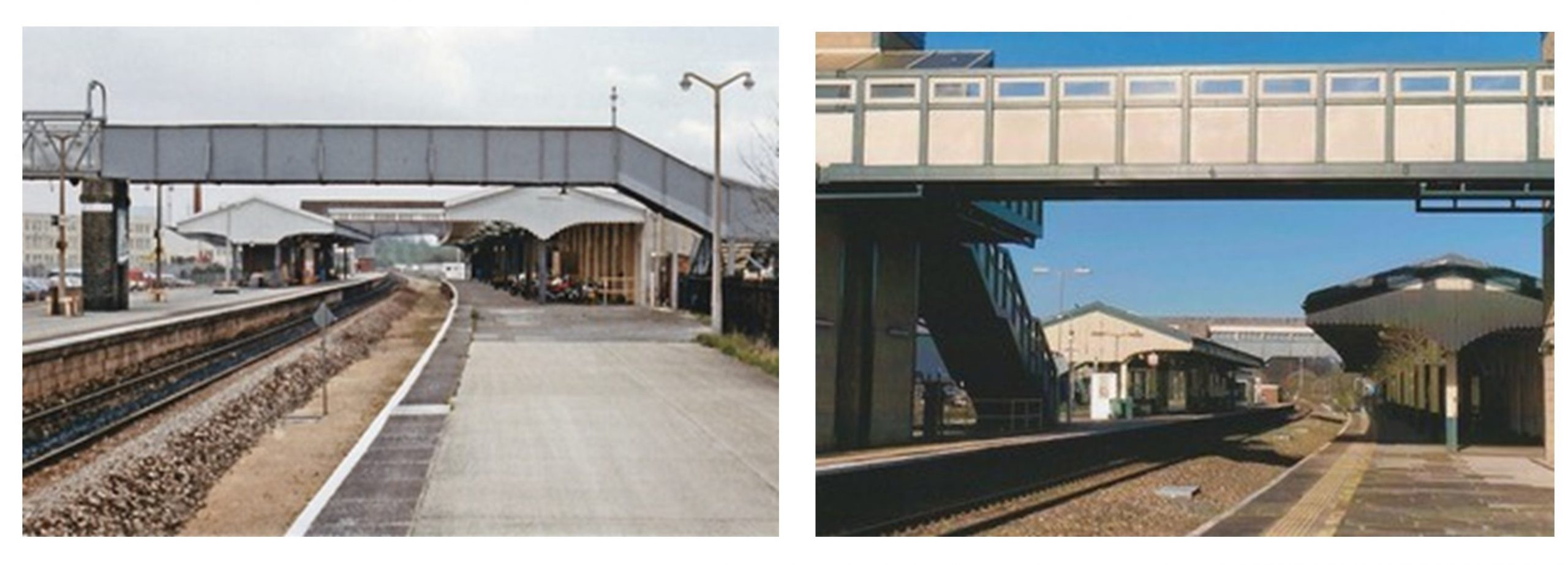 Two colour photographs showing the metal footbridge and new footbridge which replaced it