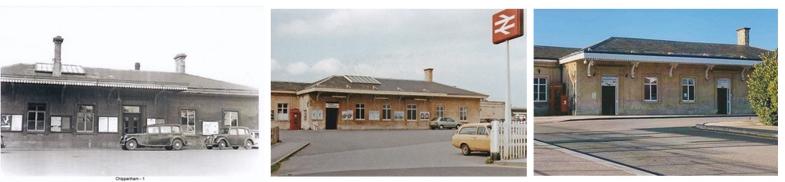 Three exterior photos of the station entrance