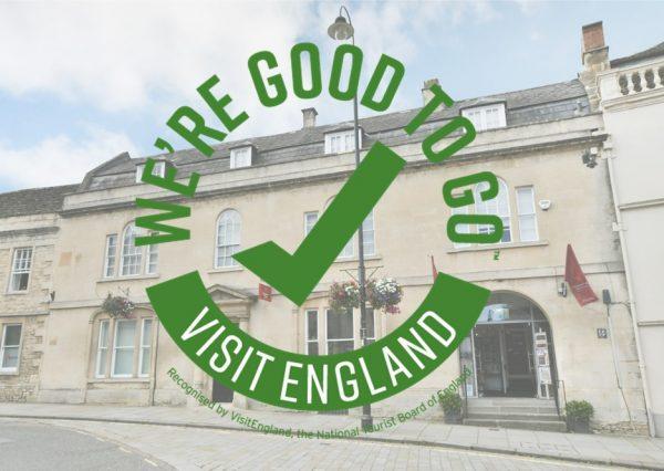 exterior of chippenham museum with visit england good to go logo