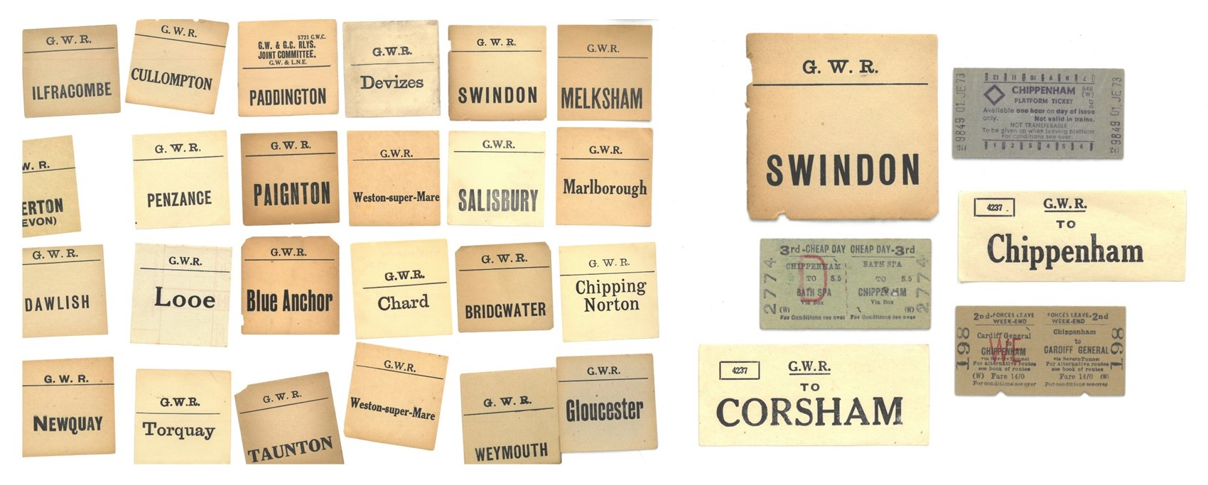 24 vintage GWR luggage labels to locations including Salisbury, Paignton and Looe