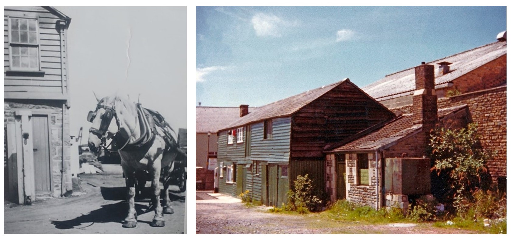 Two photographs of the weighbridge site. On the left is a black and white photograph of the weighbridge office with a horse with dray and the right a colour photograph taken after the office had closed
