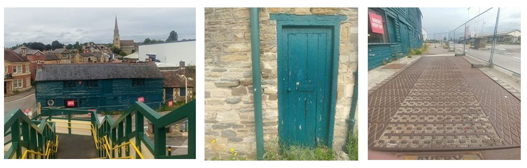 Three colour photographs of the weighbridge office
