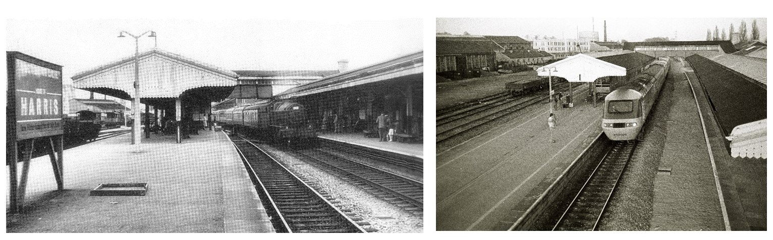 Two black and white photos of the station looking at platforms and tacks. The photograph in the right is later and shows the platform without a track after it had been slewed