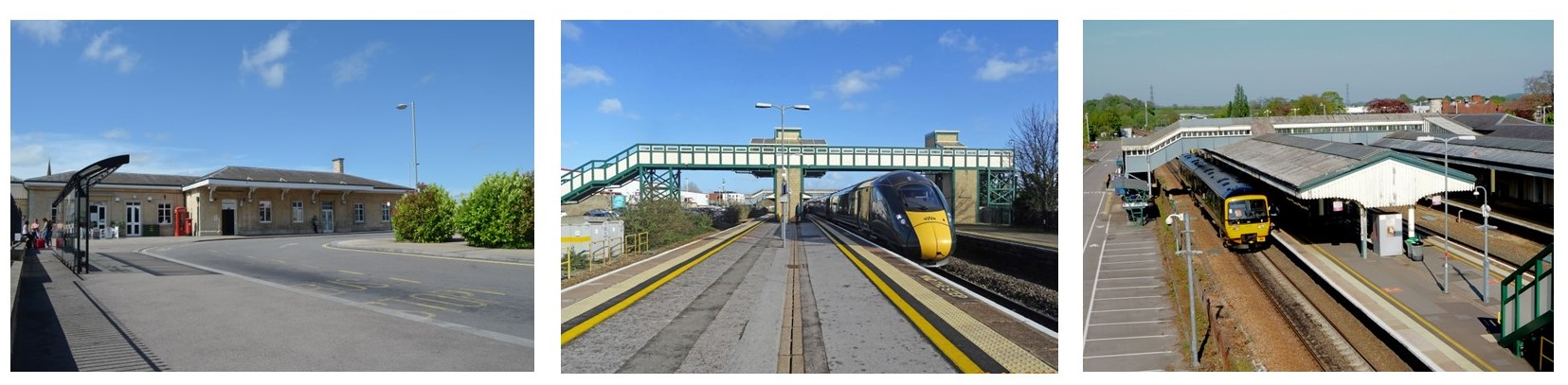 Three views of Chippenham Station today showing the forecourt, platform and new footbridge and current trains at the station