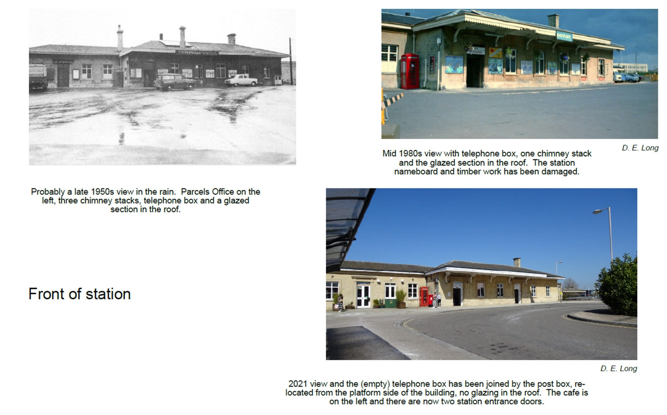 The front of the station in the 1950s, mid 1980 and today. In the 1950s the site used as a cafe today was a parcels office.