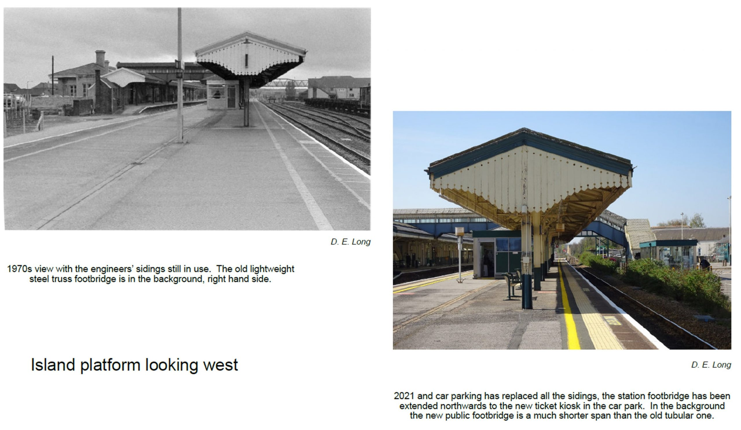 Views from 1970s and today taken on the platform showing the canopy and footbridge. The view today shows the station footbridge extended northwards into the car park.