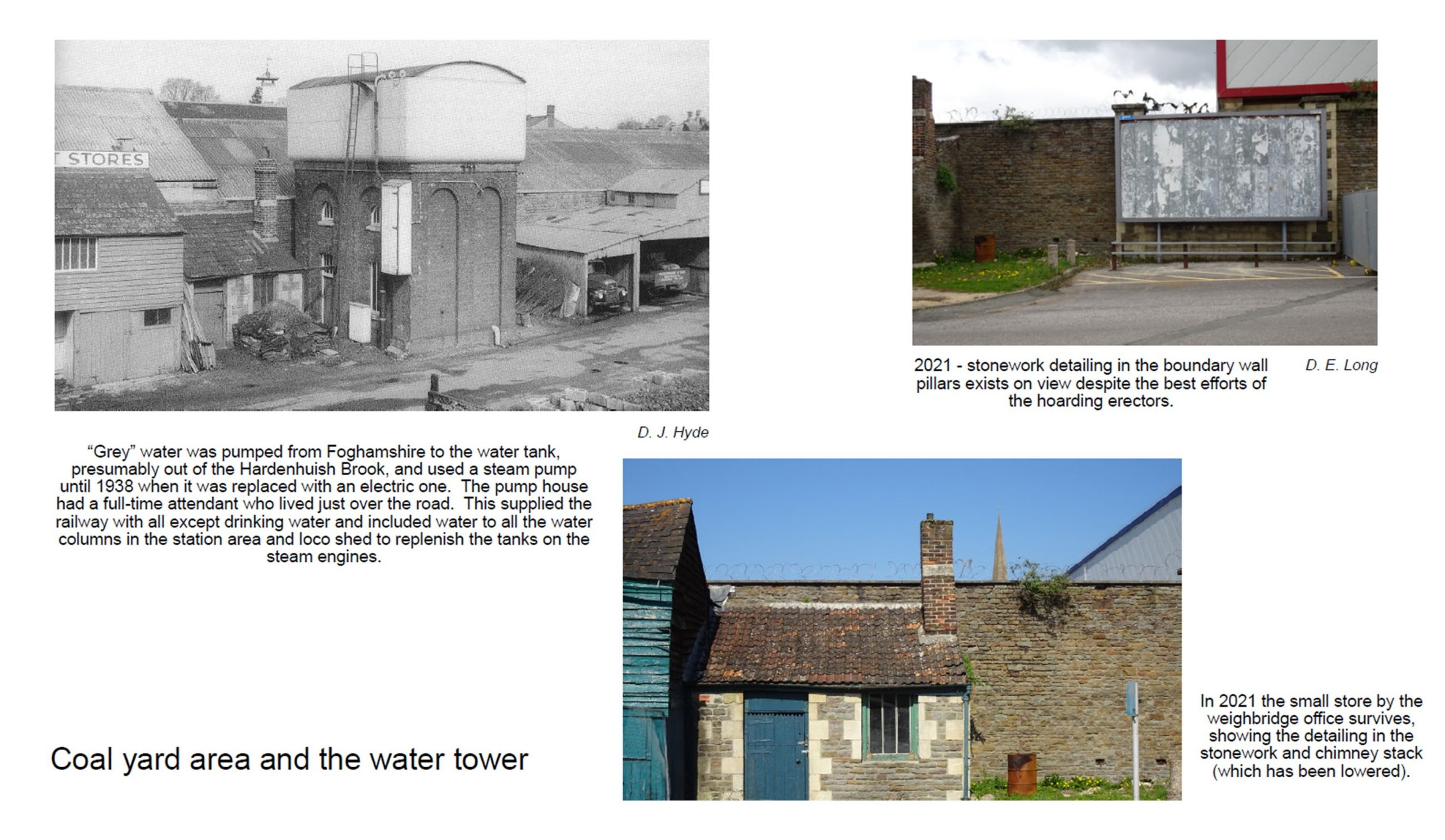 Coal yard area and water tower, the tower is no longer there but the adjacent weighbridge office is